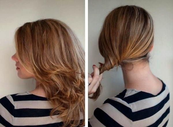 Создание ракушки на средние волосы: шаг 1-2