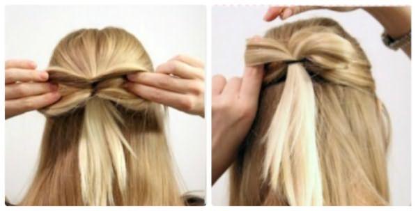 Как сделать бант из волос: шаг 5-6