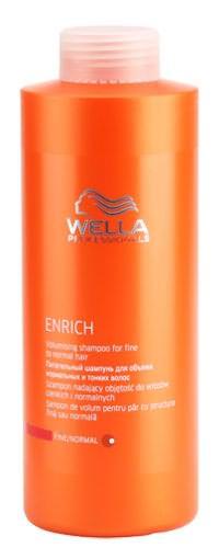 На фото показан питательный шампунь для придания объема тонким и нормальным прядям Enrich от Wella.