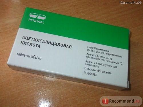 Болеутоляющие средства Ацетилсалициловая кислота (Аспирин) фото