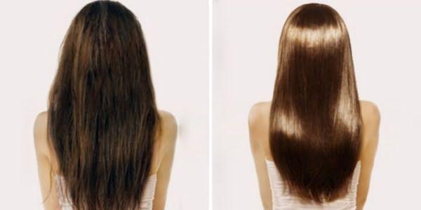 Волосы до и после применения маски с корицей