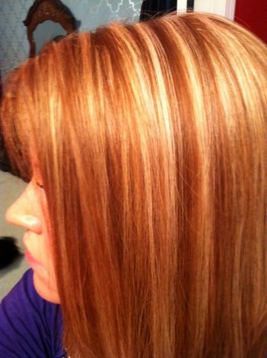 Пример мелирования рыжих волос