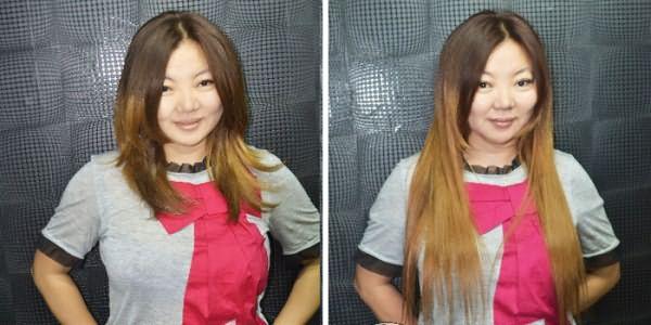 Прическа девушки до и после трессового наращивания