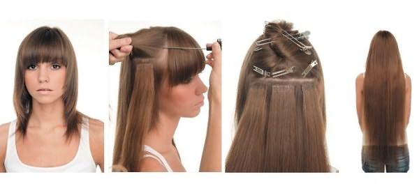 Ленточное наращивание на короткие волосы до после