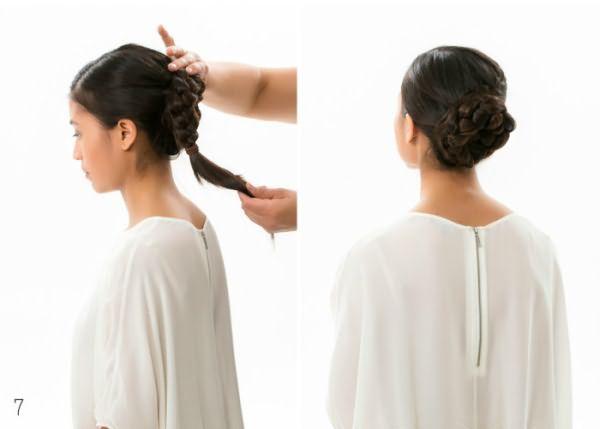 Как сделать гульку из закрученной косы: шаг 7-8