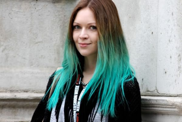 Цветное омбре на русые волосы