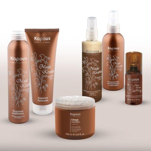 Уже разработаны серии продуктов - кератиновые комплексы для структурного восстановления волос (на фото).