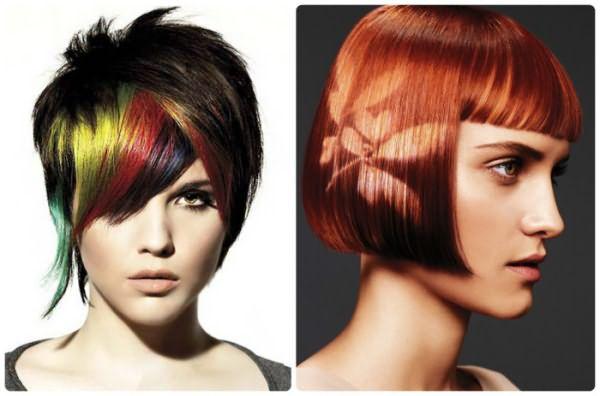 Креативная окраска коротких волос