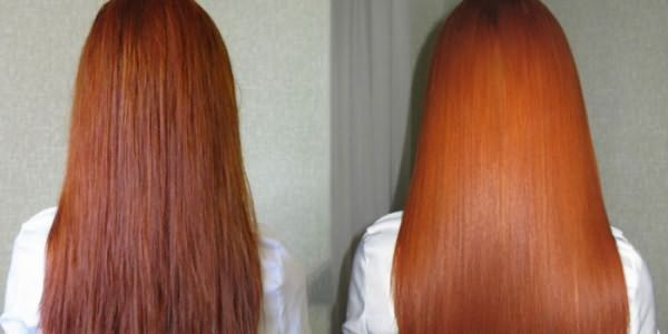 Фото волос девушки до и после цветного биоламинирования