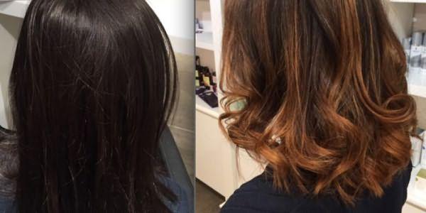 Волосы девушки до и после брондирования