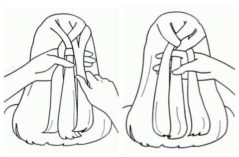 Плетение колоска: шаг 3-4