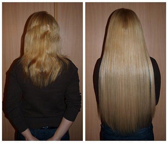 На фото: девушка до и после наращивания