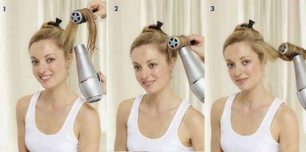 Этапы выпрямления волос феном и щеткой