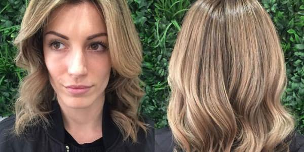 Результат брондирования на русых волосах девушки