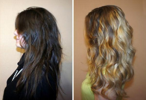 Волосы девушки после брондирования