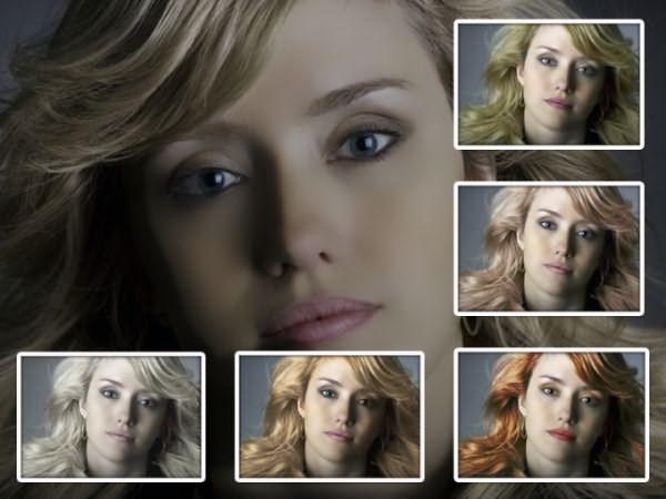 как с помощью фотошопа поменять цвет волос