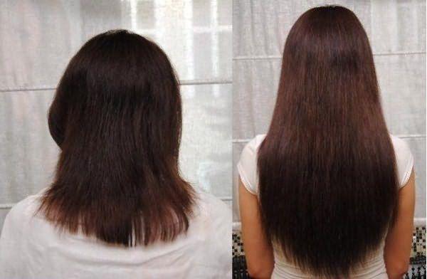 Волосы до и после применения никотиновой кислоты