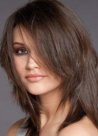 стрижка каскад на средние волосы с челкой 2