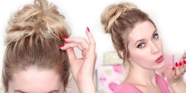 Пучок на средние волосы в стиле бохо