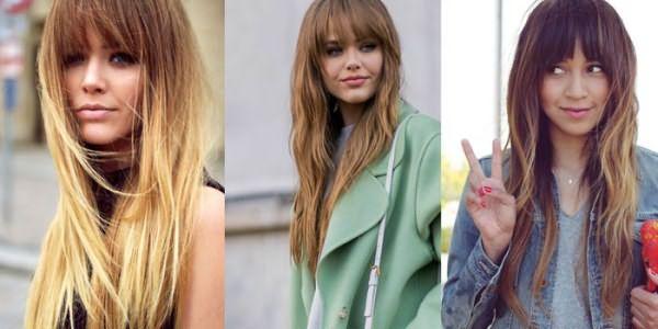 Девушки со стрижкой лесенка на длинных волосах с челкой