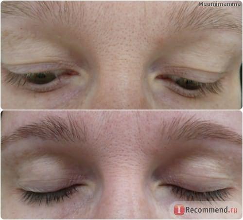 Окрашивание бровей и ресниц, до и после.
