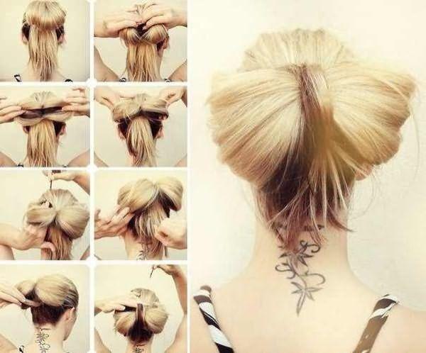 Схема как делать бант из волос на затылке быстро и просто.