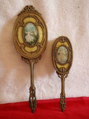 Vintage Тщеславие декоратором Металл филигрань Кисть Зеркало викторианской пары файл