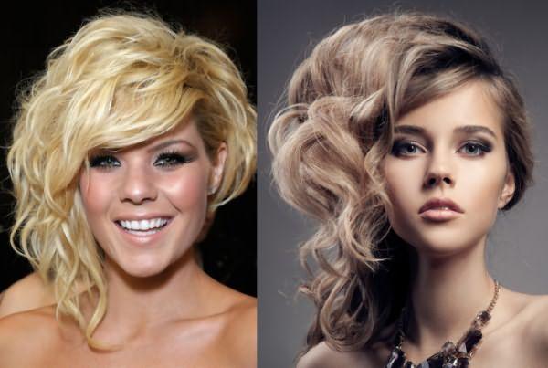 Асимметричные прически на вьющихся волосах