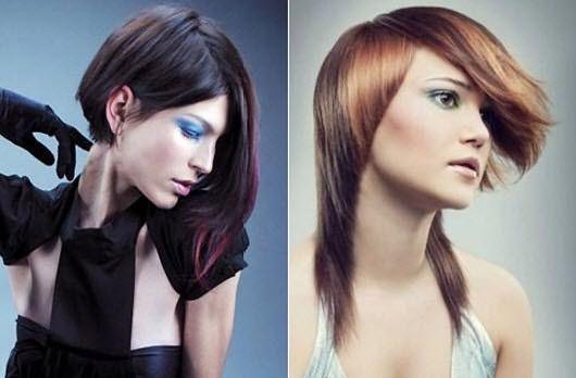 Стрижки с асимметрией на прямых волосах