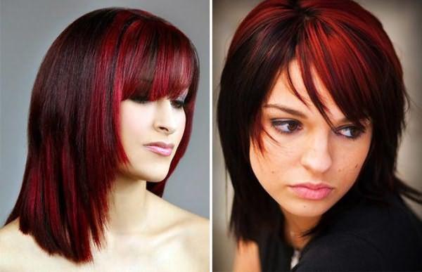 Как на черные волосы сделать красные пряди на 909