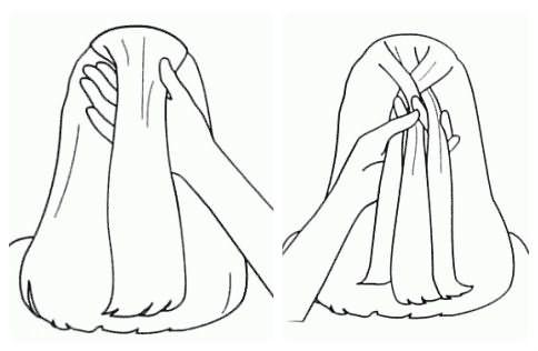 Плетение колоска: шаг 1-2