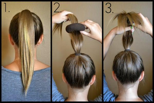 Как делать пучок с бубликом из средних волос: шаг 1-3