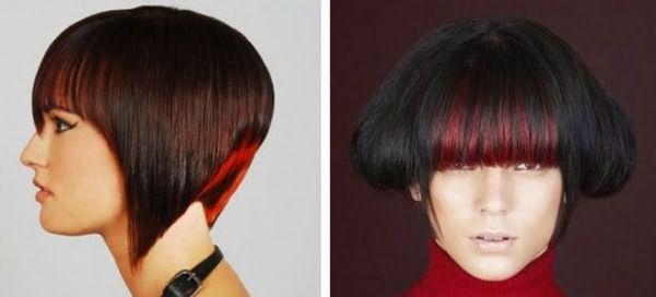 красные пряди на темных волосах