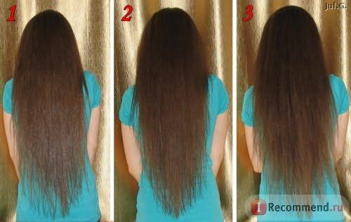 1- чистые волосы, 2 - нанесение на сухие волосы, 3 - обильное нанесение на сухие волосы