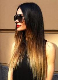 омбре на длинные прямые волосы 8