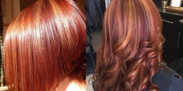 Мелирование на коротких и длинных рыжих волосах