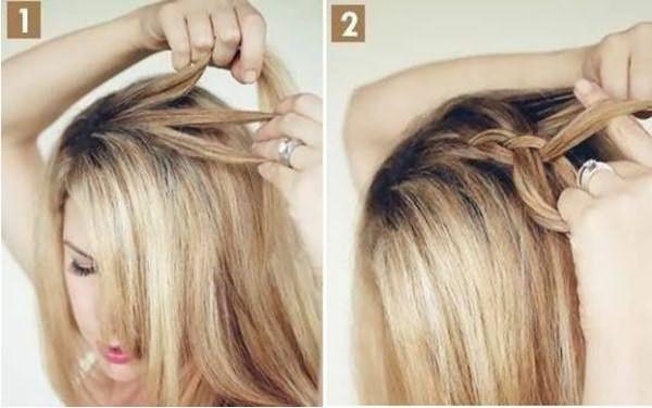 Девушка плетет косу