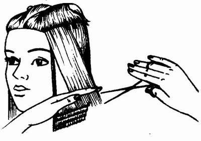 схема стрижки каре с загибающимися вверх волосами