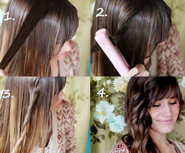Завивка волос с помощью утюжка