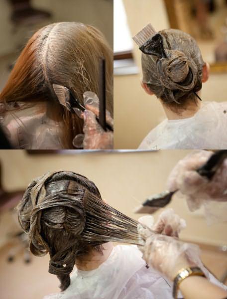 Делим волосы на части и хорошенько прокрашиваем каждую.