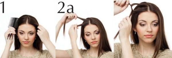 Разделение волос пробором и завязывание отдельных прядей на узел