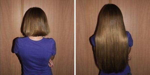 Девушка с накладными прядями до и после