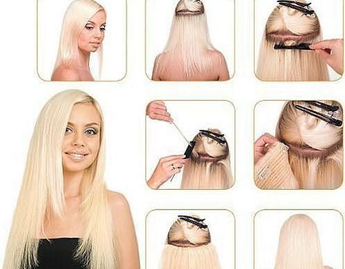 Пошаговая фиксация накладных волос