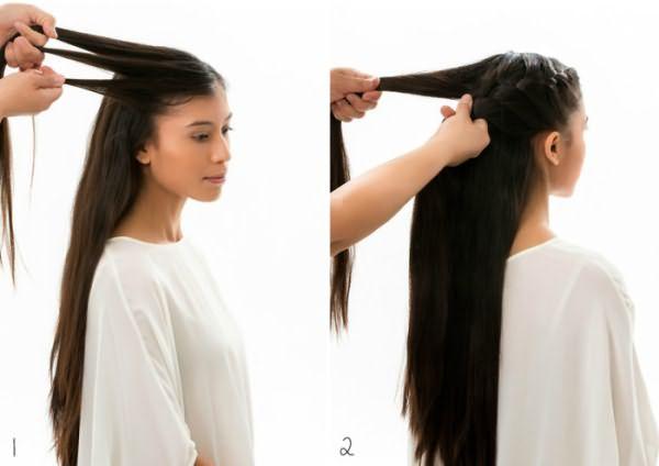 Как сделать гульку из закрученной косы: шаг 1-2