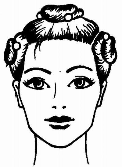 деление волос на зоны: теменную, две височно-затылочные и затылочную