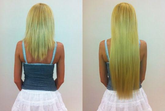 Наращивание волос до и после процедуры