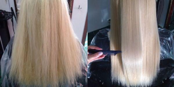 Эффект восстановления волос после процедуры