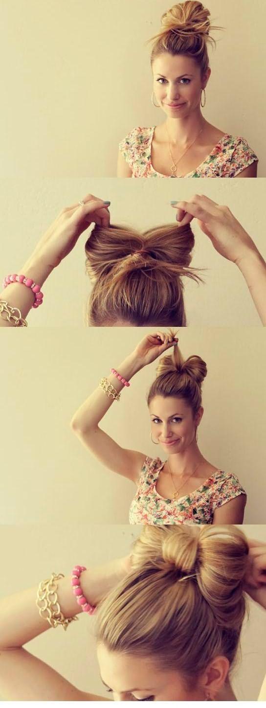 Быстрые прически на каждый день: бант из волос