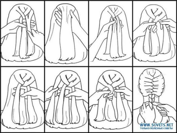 Подробная схематичная инструкция по плетению «колоска»