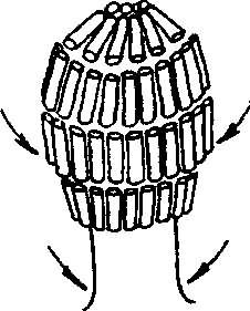 Схема вертикальной накрутки прядей.